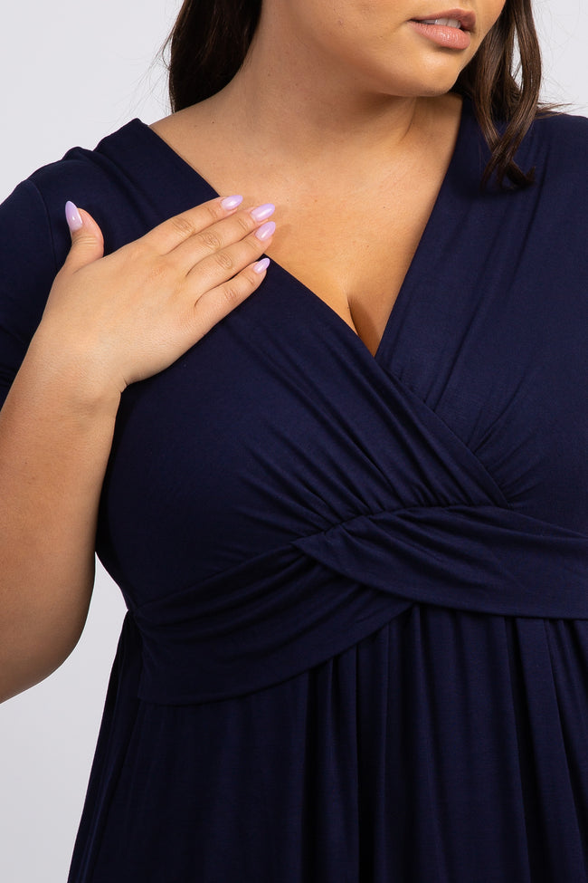 PinkBlush Navy Blue Draped Nursing Plus Maxi Dress