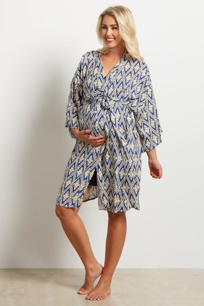 Blue Tribal Print Delivery/Nursing Maternity Robe