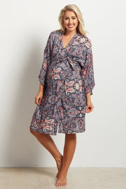 Navy Blue Paisley Print Delivery/Nursing Maternity Robe