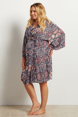Navy Blue Paisley Print Delivery/Nursing Maternity Plus Robe