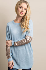 Light Blue Sequin Accent Sleeve Knit Sweater