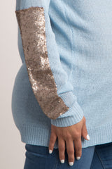 Light Blue Sequin Accent Sleeve Knit Maternity Sweater