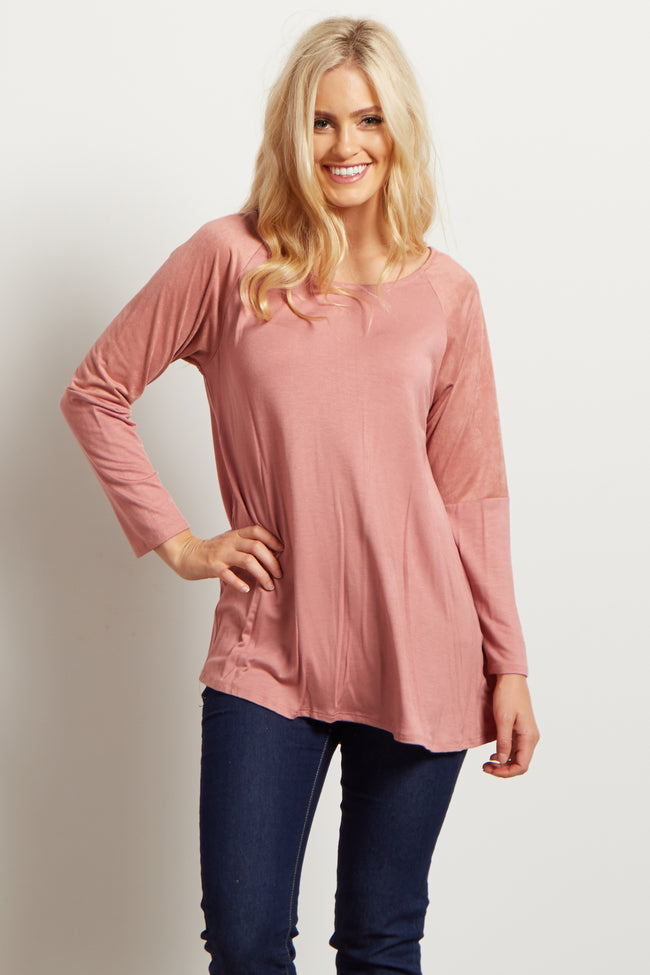 Pink Solid Basic Suede Shoulder Accent Top