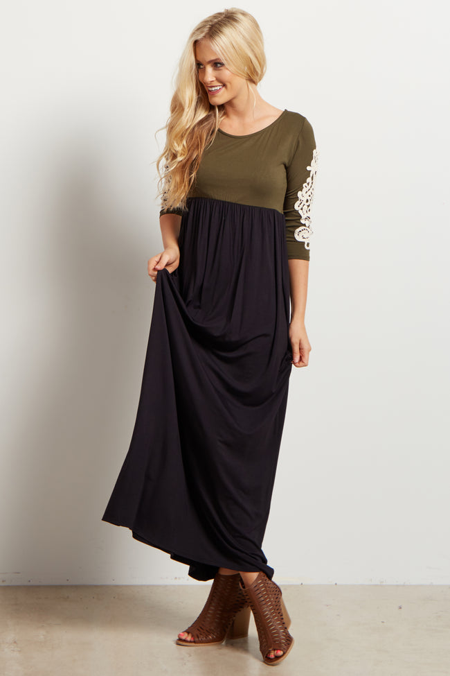 Olive Colorblock Crochet Sleeve Maxi Dress