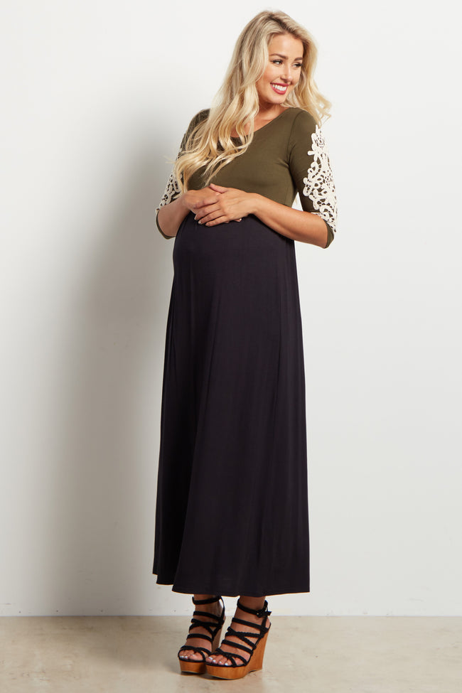 Olive Green Colorblock Crochet Sleeve Accent Maternity Maxi Dress