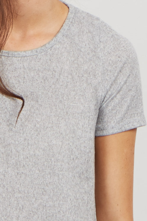 Grey Soft Knit Crochet Trim Top