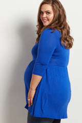 Royal Blue Scoop Neck 3/4 Sleeve Maternity Plus Top