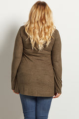 Olive Green Solid Soft Knit Long Sleeve Maternity Plus Top