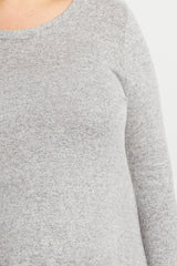 Grey Soft Knit Long Sleeve Plus Maternity Top