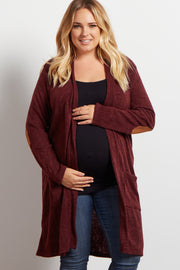 PinkBlush Burgundy Knit Elbow Patch Maternity Plus Cardigan