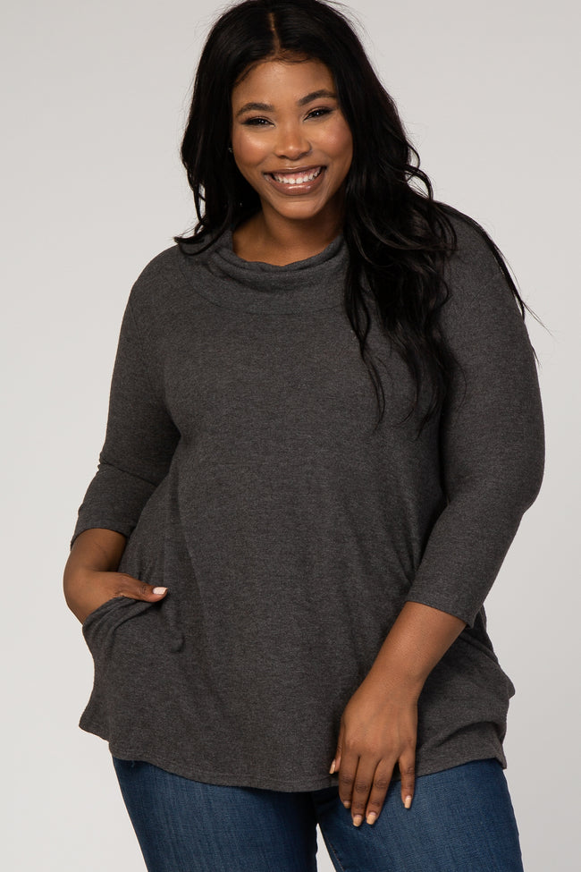 Charcoal Soft Knit Cowl Neck Maternity Plus Top