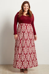 Burgundy Damask Printed Long Sleeve Plus Size Maxi Dress