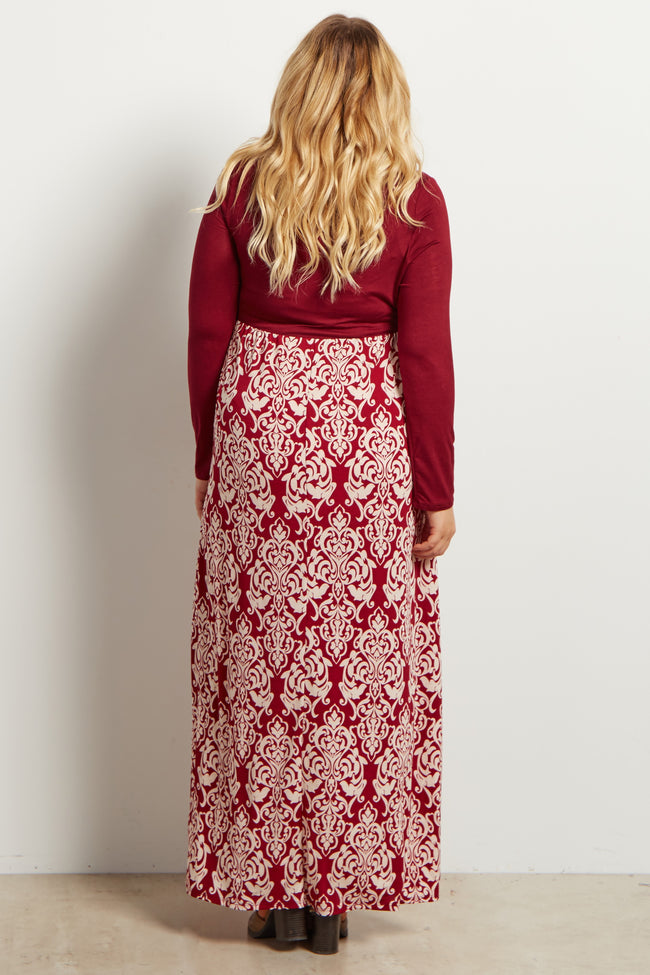 Burgundy Printed Long Sleeve Plus Maternity Maxi Dress