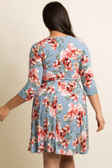 Blue Floral Print V-Neck 3/4 Sleeve Dress
