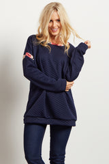 Navy Blue Quilted Floral Print Accent Sweater