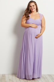 Lavender Lace Accent Chiffon Maternity Plus Evening Gown