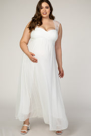 Ivory Lace Accent Chiffon Plus Maternity Evening Gown
