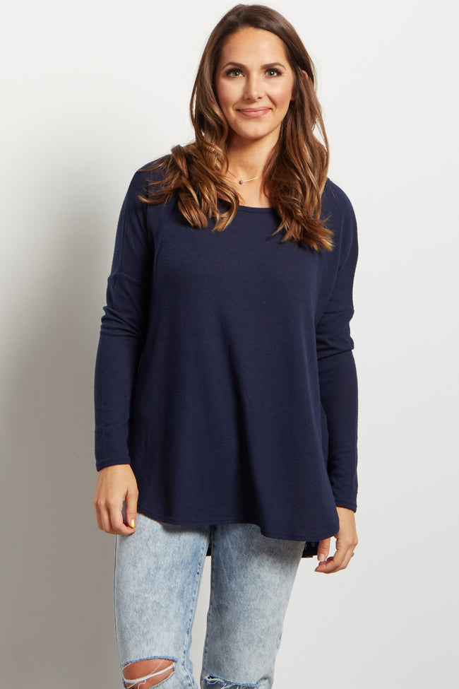 Navy Soft Knit Long Sleeve Top
