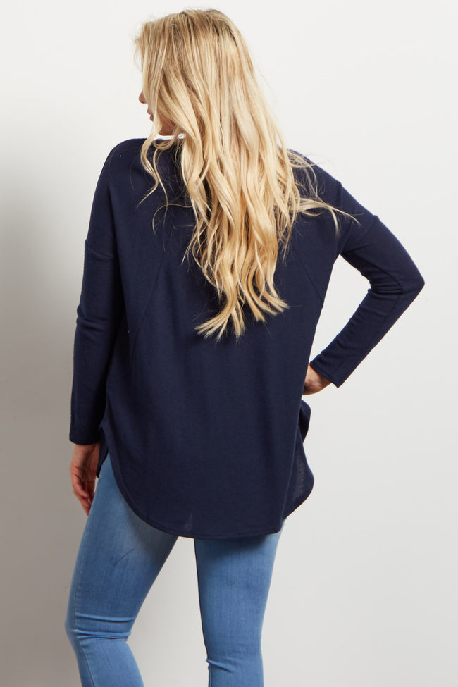 Navy Soft Knit Long Sleeve Maternity Top