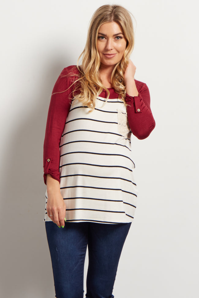 Burgundy Colorblock Striped Crochet Pocket Maternity Top