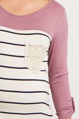 Mauve Colorblock Striped Crochet Pocket Maternity Top