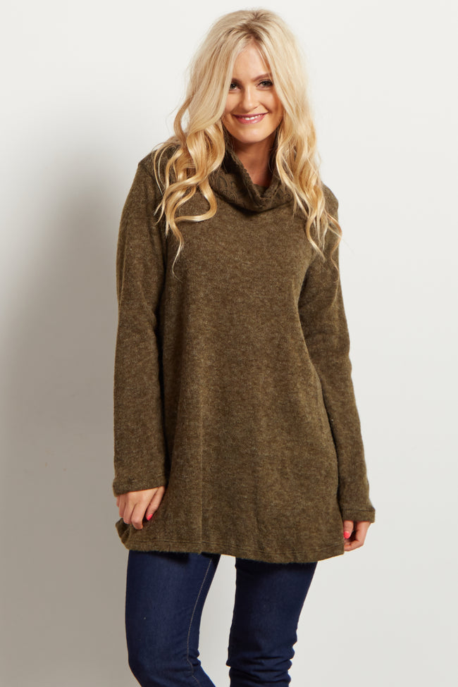 Olive Green Crochet Accent Cowl Neck Knit Sweater