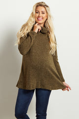Olive Green Crochet Accent Cowl Neck Knit Maternity Sweater