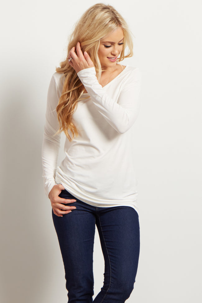 Ivory Solid Long Sleeve Top