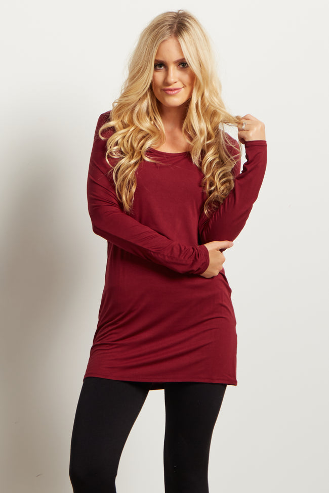 Burgundy Solid Basic Long Sleeve Maternity Top