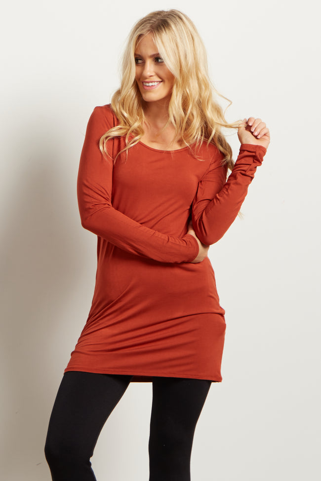 Rust Solid Basic Long Sleeve Maternity Top