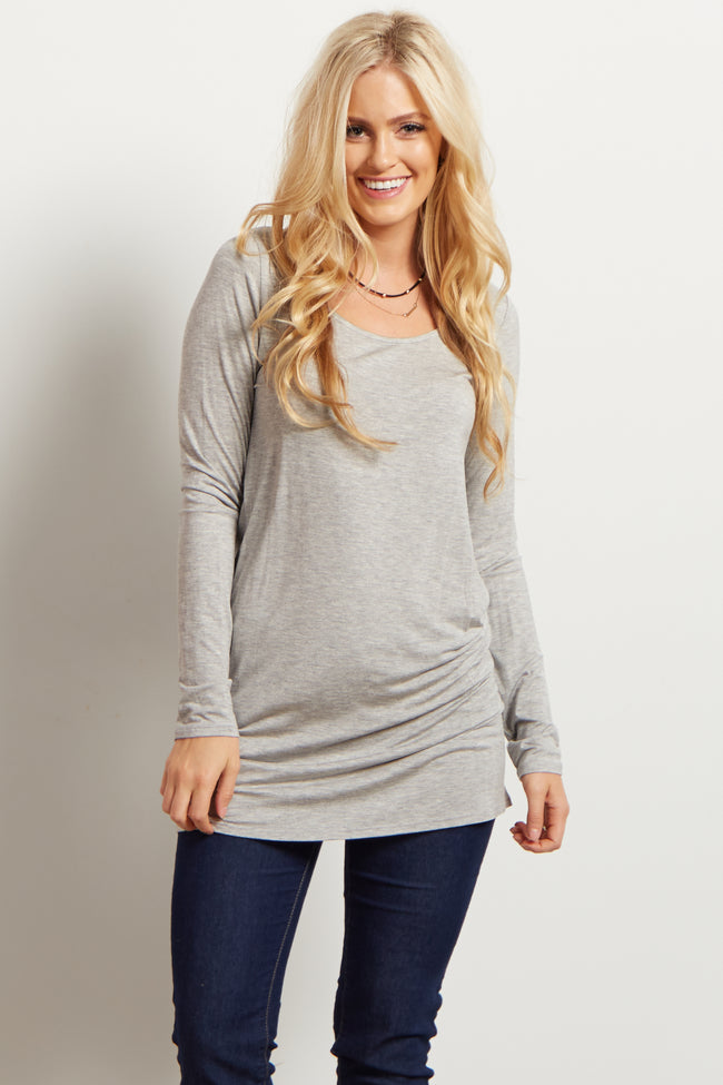 Grey Solid Long Sleeve Maternity Top
