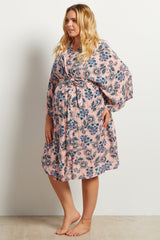 Pink Boho Floral Print Delivery/Nursing Maternity Plus Robe