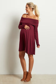 Burgundy Off Shoulder Long Sleeve Maternity Dress