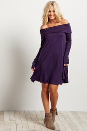 Purple Off Shoulder Long Sleeve Dress