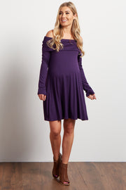 Purple Off The Shoulder Long Sleeve Maternity Dress