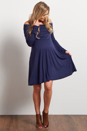Navy Off Shoulder Long Sleeve Maternity Dress