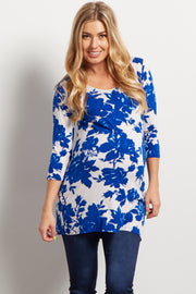 Blue Floral Print Fitted 3/4 Sleeve Maternity Top