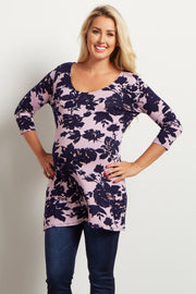 Purple Floral Print Fitted 3/4 Sleeve Maternity Top