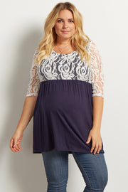 Navy Blue Lace Overlay 3/4 Sleeve Flowy Maternity Plus Top