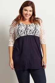 Navy Blue Lace Overlay 3/4 Sleeve Flowy Plus Top