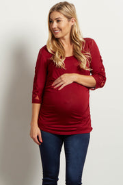 Burgundy Crochet Sleeve Maternity Top