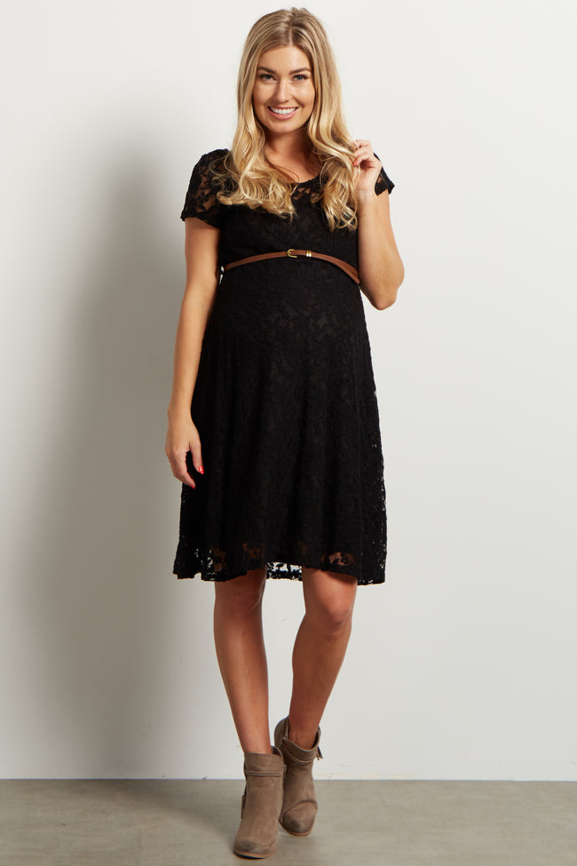 Black Lace Belted Maternity Dress
