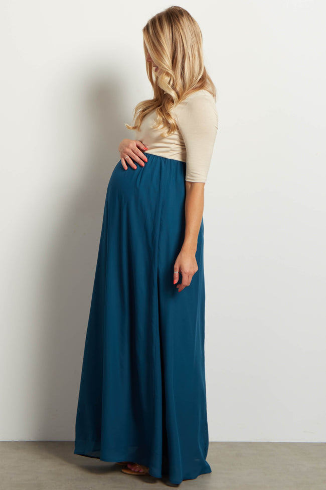 Teal Chiffon Colorblock Maternity Maxi Dress