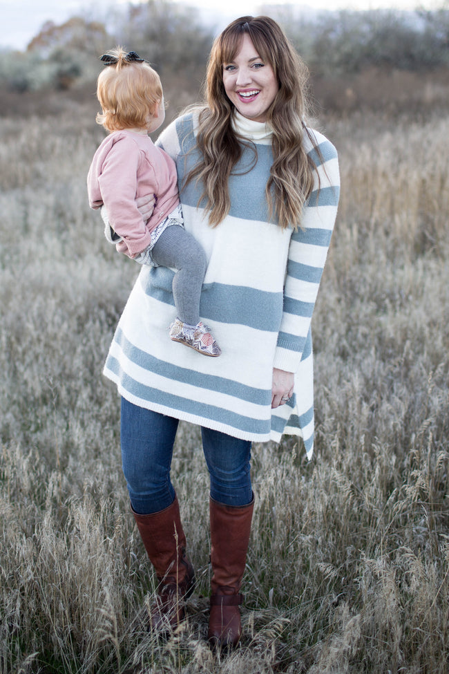 Cream Striped Cowl Neck Knit Maternity Sweater