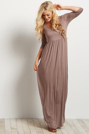 Mocha 3/4 Sleeve Maxi Dress