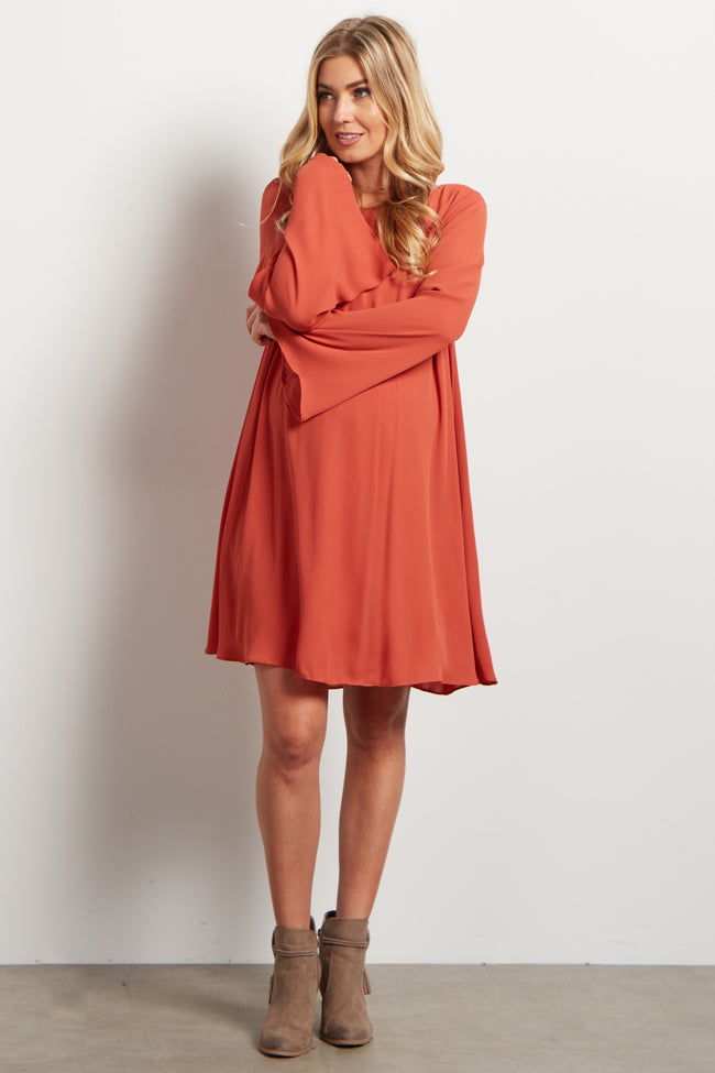 Orange Chiffon Bell Sleeve Maternity Dress