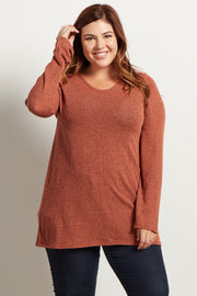 Rust Heathered Scoop Back Knit Plus Tunic
