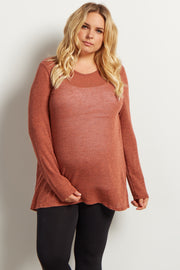Rust Heathered Scoop Back Knit Maternity Tunic