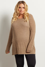Taupe Heathered Scoop Back Knit Maternity Tunic