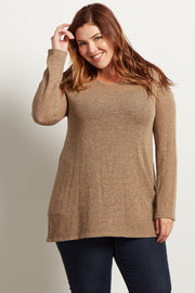 Taupe Heathered Scoop Back Knit Plus Tunic